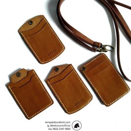gantungan id card kulit coklat havana