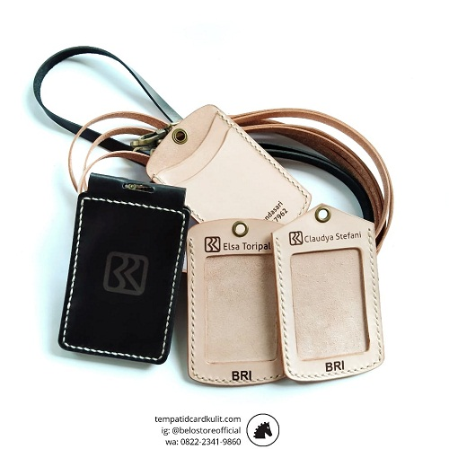 name tag holder kulit bri natural